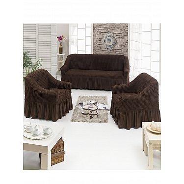 """Набор чехлов для дивана и кресел """"DO&CO"""" 3+1+1, шоколадный"""