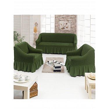 """Набор чехлов для дивана и кресел """"JUANNA"""" 3+1+1, оливковый"""