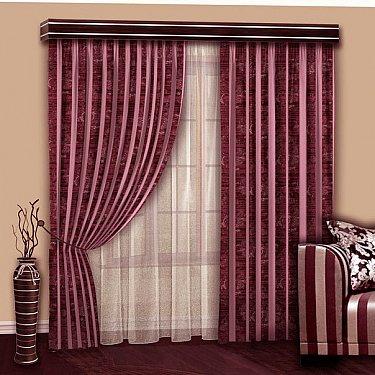 Комплект штор №103 Вензель-Брусничный с розовой шиниловой полосой