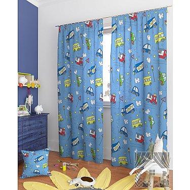 """Комплект штор """"Бриг-К"""", голубой, 260 см"""