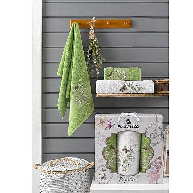 Комплект махровых полотенец Merzuka Papillon (50*90*2; 70*140), зеленый