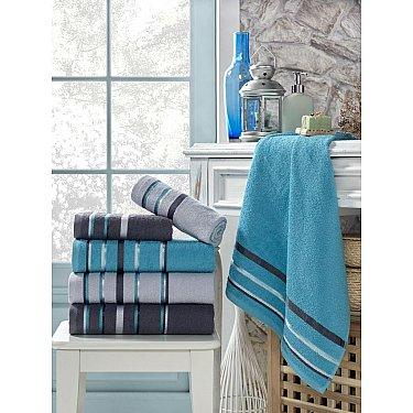 Комплект махровых полотенец TexRepublic Cotton Line, голубой