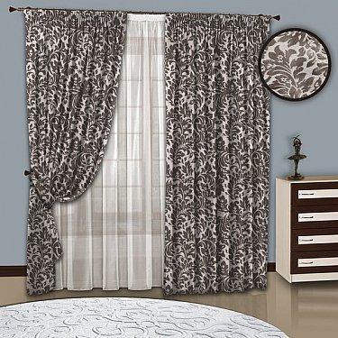 Комплект штор №108 бежевый-серый