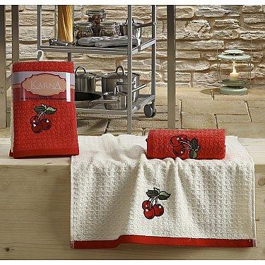 """Набор кухонных полотенец """"KARNA LEMON"""" Красный, v2, 45*65 см - 2 шт"""