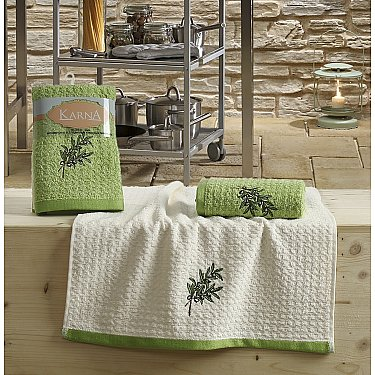 "Набор кухонных полотенец ""KARNA LEMON"" Зеленый, v2, 45*65 см - 2 шт"