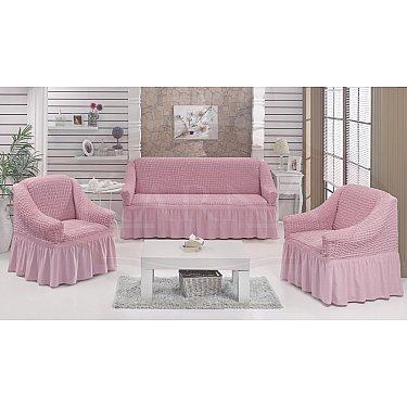 """Набор чехлов для дивана и кресел """"BULSAN"""" 3+1+1, светло-розовый"""