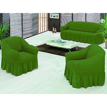 """Набор чехлов для дивана и кресел """"BULSAN"""" 3+1+1, зеленый"""