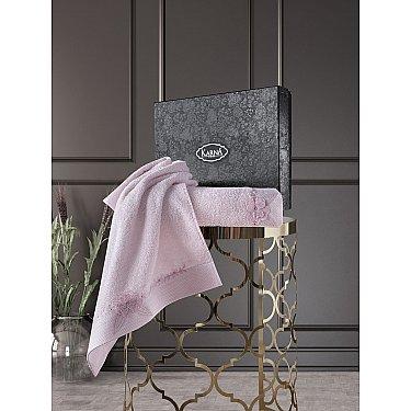 """Комплект из 2-х махровых полотенец с вышивкой """"KARNA SIENA"""" (50*90; 70*140), грязно-розовый"""