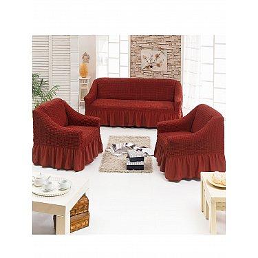 """Набор чехлов для дивана и кресел """"JUANNA"""" 3+1+1, терракотовый"""