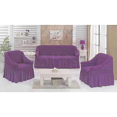 """Набор чехлов для дивана и кресел """"BULSAN"""" 3+1+1, фиолетовый"""