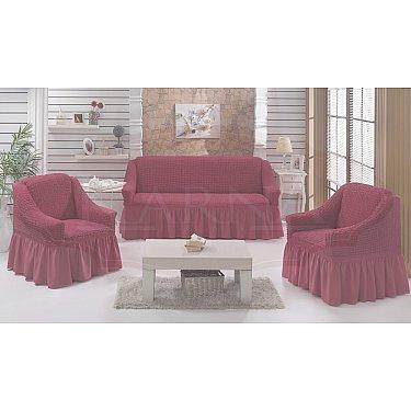"""Набор чехлов для дивана и кресел """"BULSAN"""" 3+1+1, грязно-розовый"""