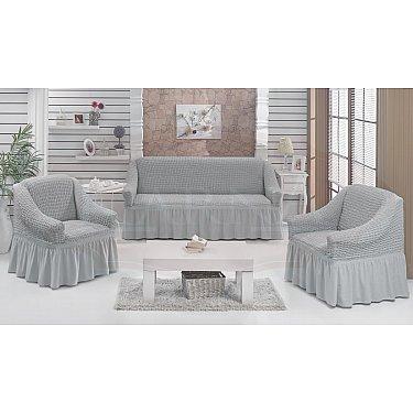 "Набор чехлов для дивана и кресел ""BULSAN"" 3+1+1, серый"