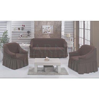 """Набор чехлов для дивана и кресел """"BULSAN"""" 3+1+1, коричневый"""