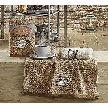 """Набор кухонных полотенец """"KARNA LEMON"""" Коричневый, v2, 45*65 см - 2 шт"""