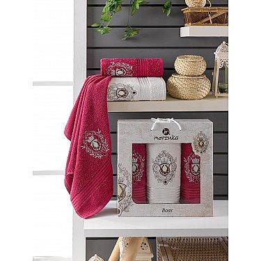 Комплект махровых полотенец Merzuka Boss (50*80*2; 70*130), бордовый