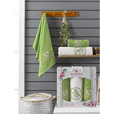 Комплект махровых полотенец Merzuka Fiorella (50*90*2; 70*140), зеленый