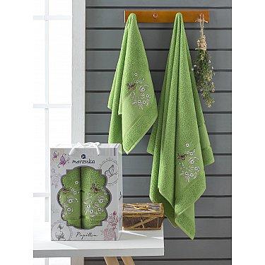 Комплект махровых полотенец Merzuka Papillon (50*90; 70*140), зеленый