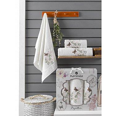 Комплект махровых полотенец Merzuka Papillon (50*90*2; 70*140), кремовый