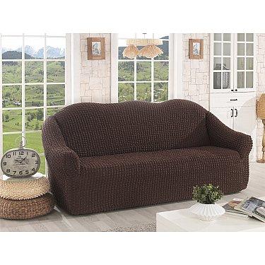 """Чехол для дивана """"KARNA"""" трехместный, без юбки, коричневый"""