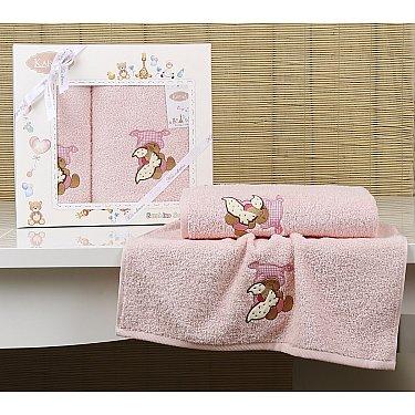 """Комплект полотенец детский """"KARNA BAMBINO-TEDDY"""" (50*70; 70*120), розовый"""
