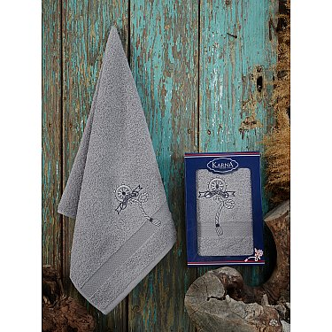 "Полотенце махровое в коробке ""KARNA ROTA"", серый, 50*90 см"