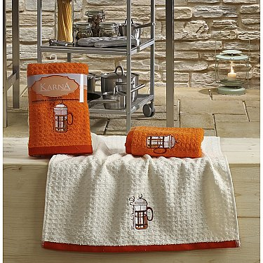 "Набор кухонных полотенец ""KARNA LEMON"" Оранжевый, v2, 45*65 см - 2 шт"