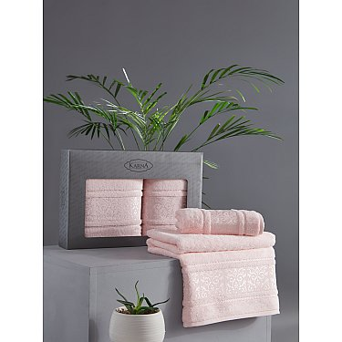 "Комплект из 2-х полотенец бамбук ""KARNA ARMOND"" (50*90; 70*140), пудра"