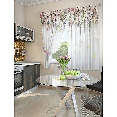 """Комплект штор """"Зифора-A"""", белый, розовый, 180 см"""