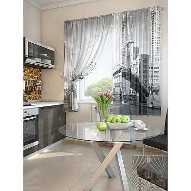 "Фотошторы для кухни ""Валд"", серый-A, 180 см"