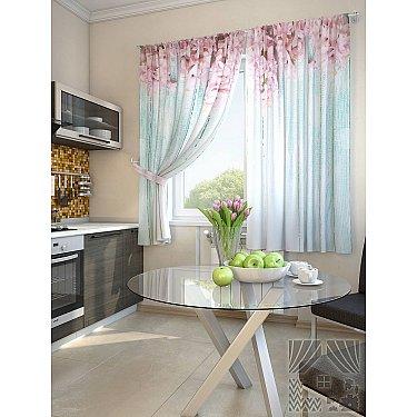 """Фотошторы для кухни """"Жалин"""", голубой, розовый, 180 см-A"""