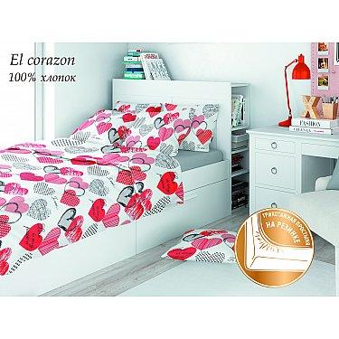 КПБ поплин eco cotton combo El corazon с трикотажной простыней (1.5 спальный), белый
