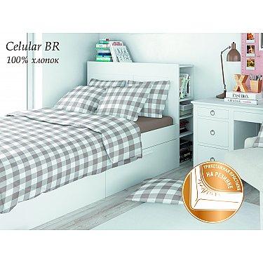 КПБ поплин детский eco cotton combo Celular с трикотажной простыней (1.5 спальный), коричневый