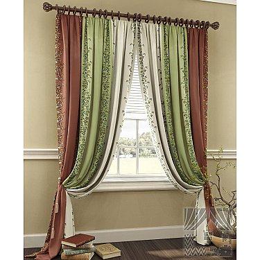 """Комплект штор """"Фелан"""", коричневый, зеленый, 260 см"""