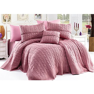 Плед вязаный DO&CO с простыней и наволочками Diamond, розовый, 220*240 см