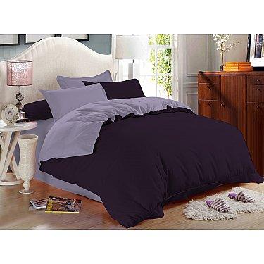 КПБ сатин однотонный Grape с простыней на резинке (2 спальный), фиолетовый, сиреневый