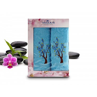 Комплект полотенец Yagmur SAKURA Cotton в коробке (50*90; 70*140), голубой