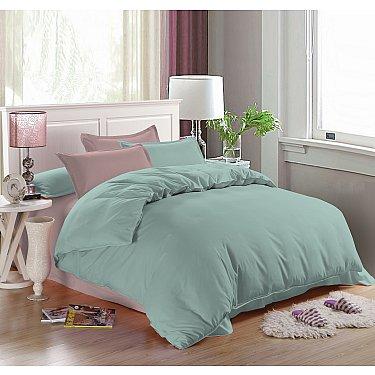 КПБ мако-сатин однотонный Beatrice (1.5 спальный), ментоловый, розовый