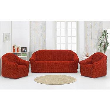 "Набор чехлов для дивана и кресел ""KARNA"" 3+1+1 , без юбки, кирпичный"