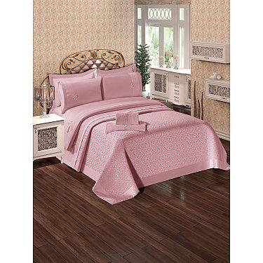 КПБ Do&Co Ipek с покрывалом и полотенцами (50*70/4 шт), пудра (Евро)