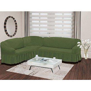 "Чехол на диван угловой левосторонний ""BULSAN"" 2+3, зеленый"