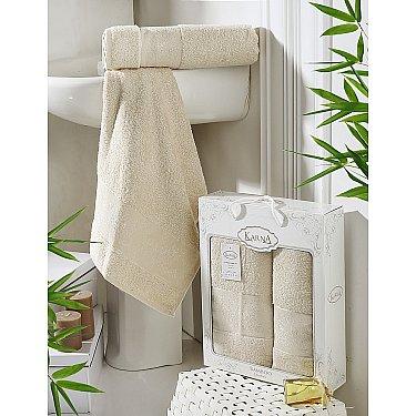 "Комплект полотенец бамбук ""KARNA PANDORA"" (50*90; 70*140), бежевый"