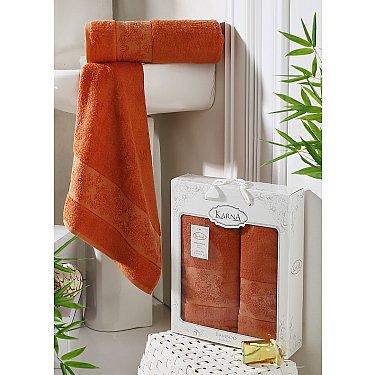 """Комплект полотенец бамбук """"KARNA PANDORA"""" (50*90; 70*140), кирпичный"""