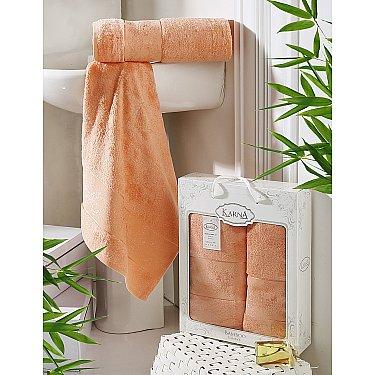 """Комплект полотенец бамбук """"KARNA PANDORA"""" (50*90; 70*140), коралловый"""