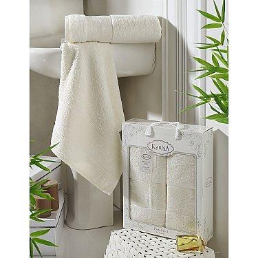 """Комплект полотенец бамбук """"KARNA PANDORA"""" (50*90; 70*140), кремовый"""