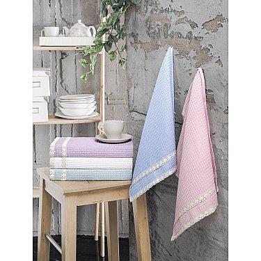"""Комплект вафельных полотенец с гипюром """"KARNA KOPENAKI"""", v2, 40*60 см - 5 шт"""