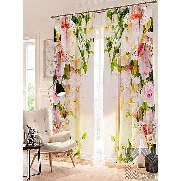 Фотошторы Цветы в лучах света, розовый, 260 см