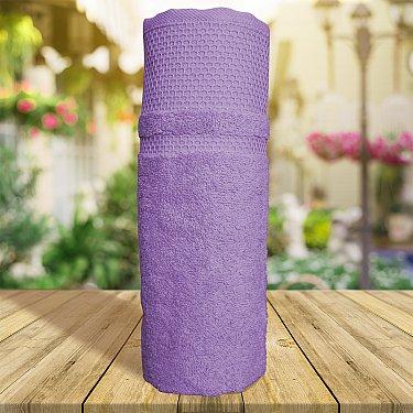 Полотенце однотонное с жаккардом Vafl, фиолетовый