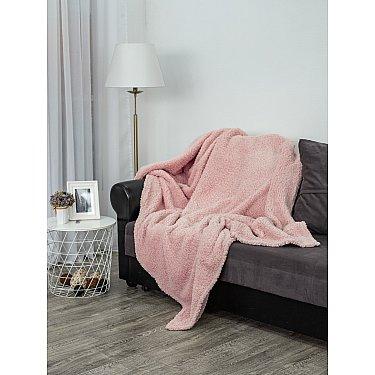 """Плед однотонный """"Овчина"""", розовая пудра, 150*200 см"""