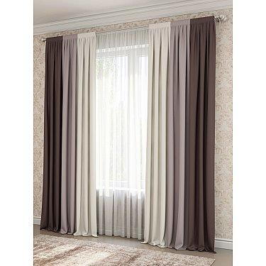 Комплект штор №027, коричневый, какао, светло-бежевый