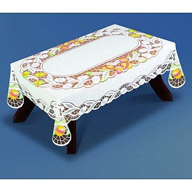 Скатерть №33890-100, белая, салатовая